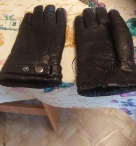 Перчатки зимние кожаные мех натуральный
