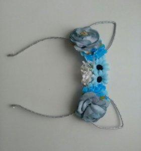 Ободок кошачьи уши с голубыми цветами