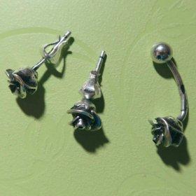 Серебряные серьги и штанга розы