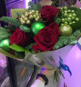 Цветы букеты с елкой на новый год