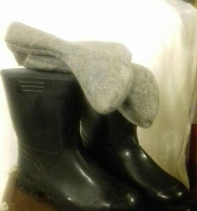 Сапоги резиновые со вставным войлочным носком