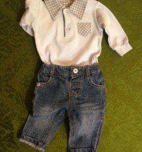 Джинсы и рубашка для маленького модника
