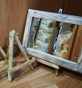 Зеркало в деревянной раме 36х26 с подставкой