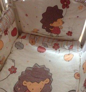 Мягкие бортики, одеяло, подушка, постельное белье