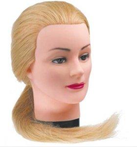Манекен головы с длинными натуральными волосами