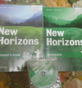 """Учебник """"New Horizons"""" + рабочая тетрадь + диск."""