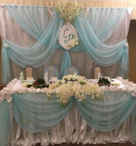 Оформление зала на свадьбы, юбилеи, чехлы на стул