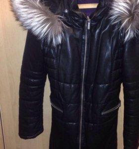 Кожаное пальто на пуху