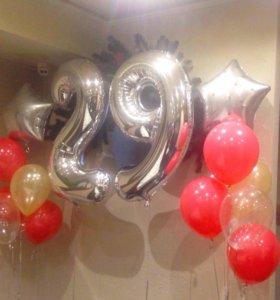 Фольгированные цифры на день рождения + шарики