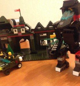 Lego.(конструктор)2 кг.Военная база+другие детали.