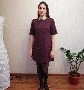Платье короткое под замшу