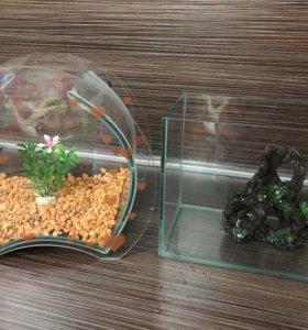 Два аквариума с грунтом. На 5 литров.