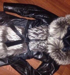 Кожаная, меховая куртка- желетка