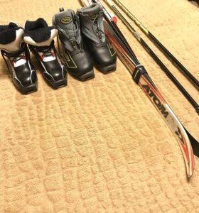 Лыжи+лыжные ботинки