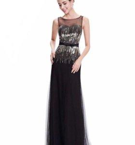 Платье вечернее в пол с пайетками чёрное новое