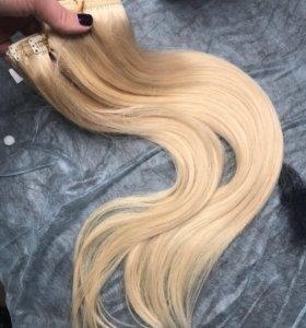 Натуральные волосы 50 см на заколках