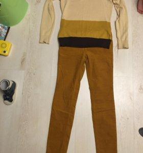 Вельветовые брюки и кофточка 42-44 размер