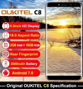 Безрамочный смартфон oukitel c8