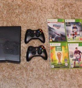 Xbox 360 + 6 дисков + пульт + 2 джойстика + HDMI