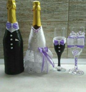 Свадебные бокалы, подушечки,быки,букеты, бутоньерк