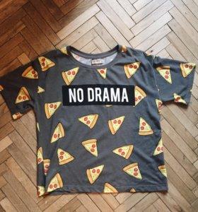 Футболка no drama с пиццей Pull and Bear