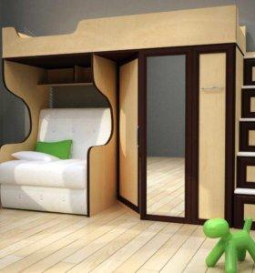Детская кровать с двумя столами))))