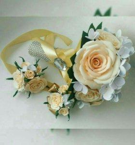 Свадебный букет+бутоньерка+браслет