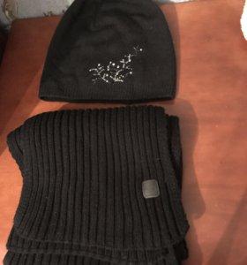 Шапка и шарф женские шерсть