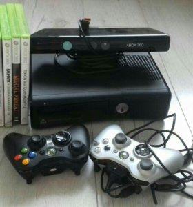 Xbox 360, два геймпада, kinect, 8 дисков.