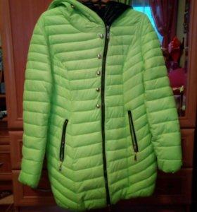 Зимняя куртка, размер XL, цвет кислотный зелёный