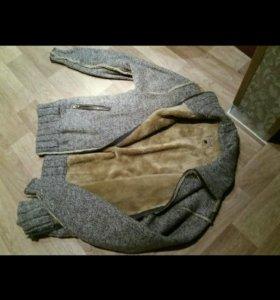 Куртка мужская вязаная на меху.размер xxl