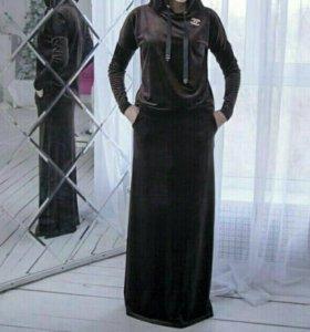 Костюм велюр коричневый хиджаб
