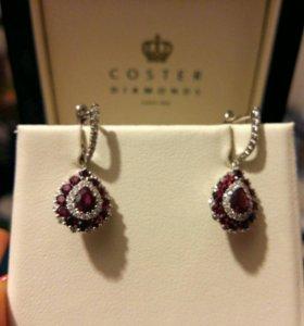 Серьги рубины и бриллианты COSTER DIAMONDS новые