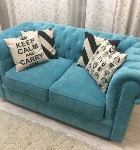 Раскладной бархатный диван Chester/Chesterfield