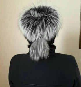 шапка из норки вязаной с чернобуркой