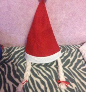 Новая Новогодняя шапка с косичками