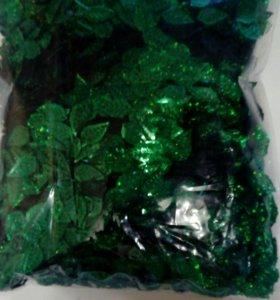 Пайетки зеленые листочки