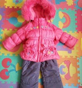Зимняя/толстая куртка+комбинезон на 2-4года