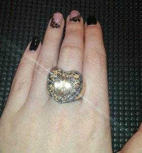 Кольцо сердце серебро 925