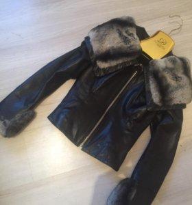 Кожаная куртка с натуральным мехом punto