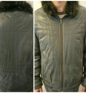 Зимняя стильная куртка, кожа и мех натуральные р46