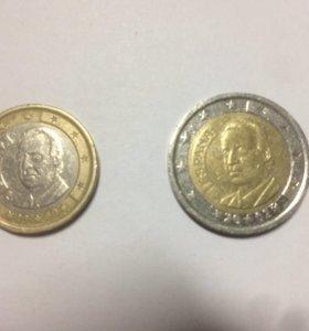 2 монеты евро Испания