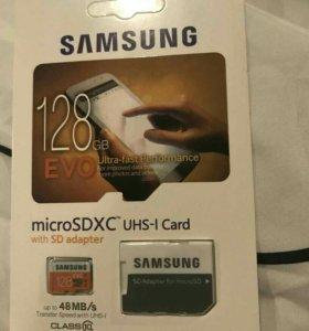 Карта памяти micro SD Samsung Pro128GB с адаптером