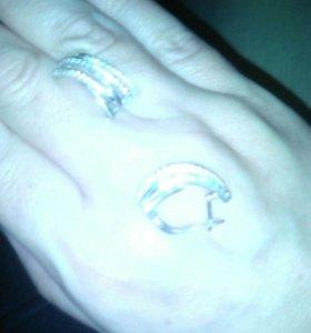 Серьги серебро 925,