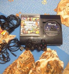PlayStation 3 Super Slim 500ГБ, GTA V, GT6+Аккаунт