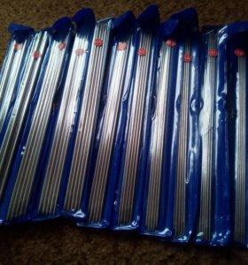 спицы вязальные, металлические, набор 55 штук