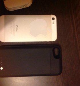 iPhone 5 32 Gb 📱 silver , чехол аккумулятор