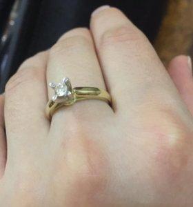 ‼️Бриллиант 0.37 кр Новое золотое кольцо‼️