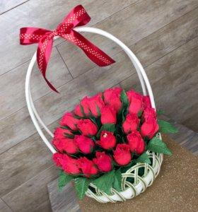 """🌹Корзина-букет из конфет """"Красные розы""""🌹🌹🌹"""