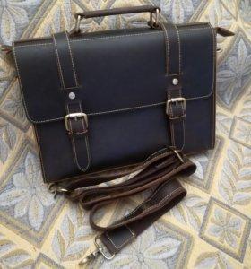 Шикарная мужская сумка из натуральной кожи